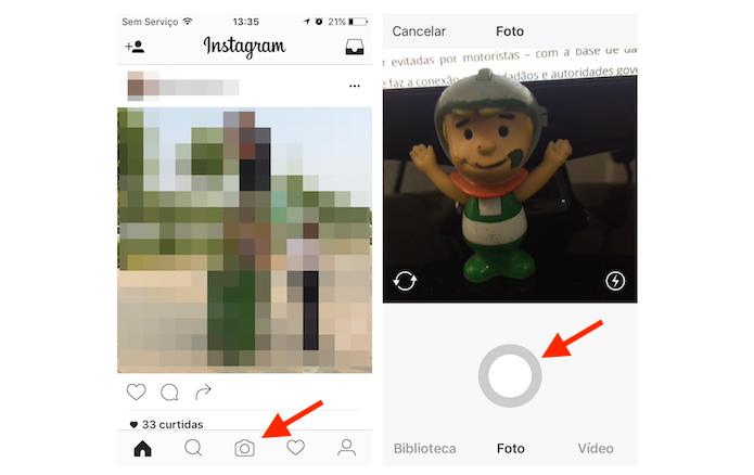 Tirando uma foto para salvar como rascunho no Instagram (Foto: Reprodução/Marvin Costa)