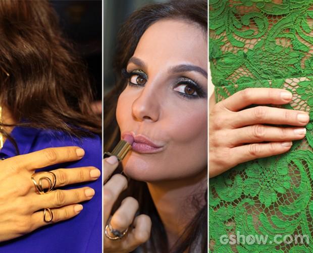 Para cor da boca e unhas, vete prefere o nude, mas se arrisca com o vermelho (Foto: Dafne Bastos/TV Globo)