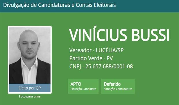 Fagner Vinícius Bussi da Silva (PV) teve o diploma cassado pela Justiça Eleitoral (Foto: Reprodução/TSE)
