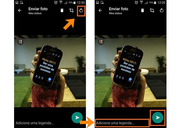 Poste a foto no WhatsApp Status após os ajustes (Foto: Reprodução/Barbara Mannara)