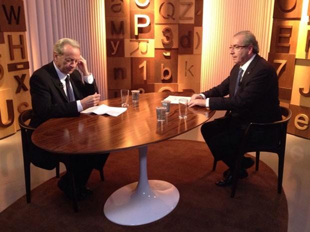 O presidente da Câmara, Eduardo Cunha (dir.), com o jornalista Mario Sérgio Conti, no programa 'Diálogos', da GloboNews (Foto: Divulgação/GloboNews)