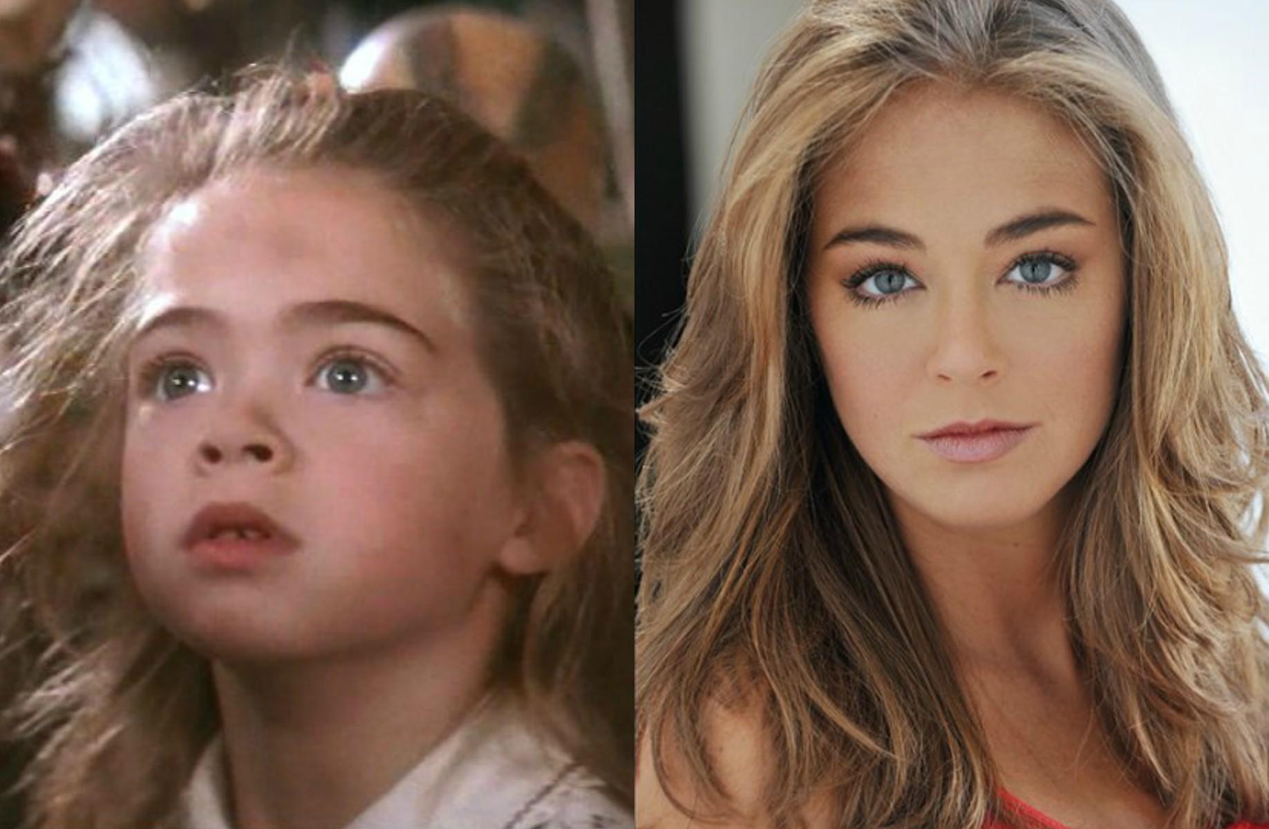 Amber Scott fez a filha de Robin Williams em 'Hook: A Volta do Capitão Gancho' (1991). Hoje tem 29 anos. (Foto: Reprodução e Divulgação)