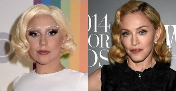 """Lady Gaga e Madonna já foram grandes amigas: elogiavam uma à outra, saíam juntas para dançar e até zoaram quando a mídia começou a indicar alguma rivalidade entre elas. Tudo mudou, porém, depois que Gaga lançou o hit 'Born This Way' (2011), apontado como plágio da canção de Madge 'Express Yourself' (1989) — e também de 'Waterfalls', da banda TLC, mas poucos se lembram disso. Enfim, desde então, Madonna e Gaga trocam acusações. E, se você acha que as duas vão fazer as pazes em breve, esqueça: o novíssimo álbum de Madonna, que com certeza há de tocar bastante ao longo de 2015, faz referências (negativas) à """"Mother Monster"""" em duas faixas.  (Foto: Getty Images)"""