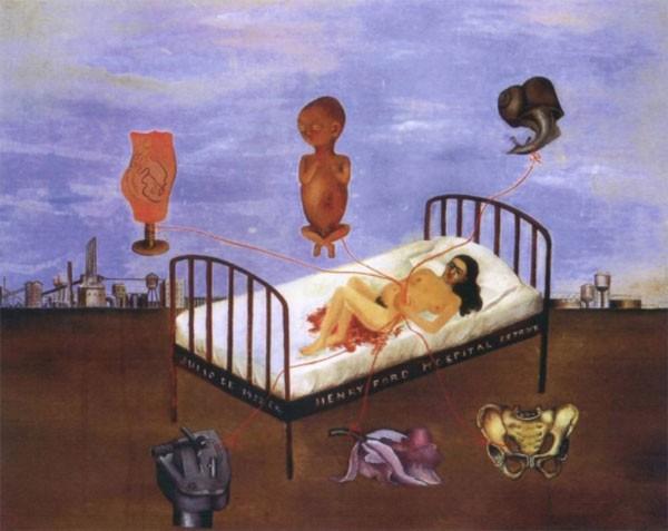 Obra de Frida Kahlo, Henry Ford Hospital (The Flying Bed), que retrata o aborto espontâneo que sofreu (Foto: Divulgação)