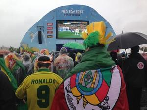 Torcida gaúcha na Fifa Fan Fest Porto Alegre (Foto: Guilherme Pontes/G1)