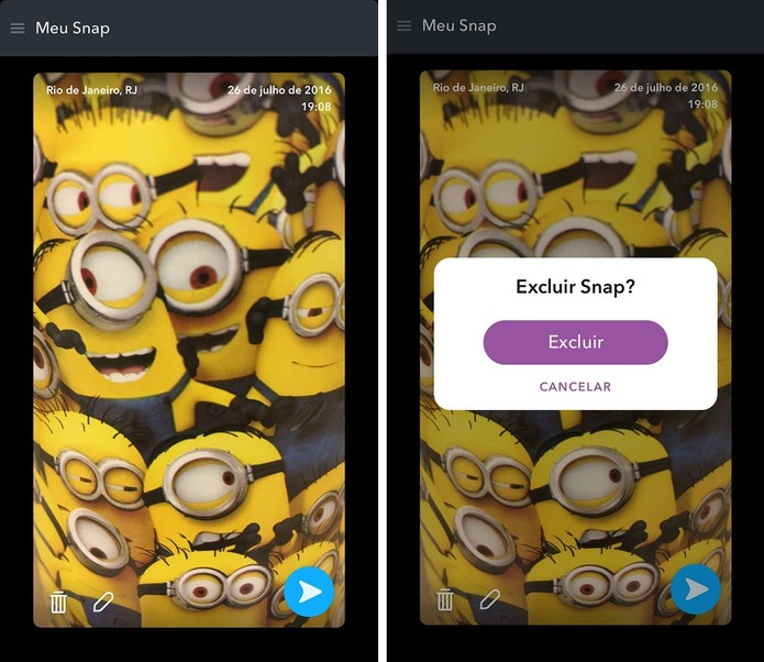 Excluir um conteúdo que está salvo no Snapchat (Foto: Reprodução/Camila Peres)