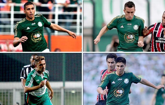 montagem Tobio, Allione, Mouche e Cristaldo jogadores Palmeiras (Foto: Editoria de Arte)