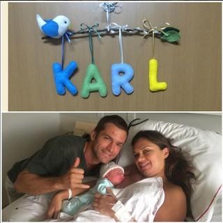 Claudio Heinrich com a mulher, Claudia, e o filhinho, Karl (Foto: Reprodução/Instagram)