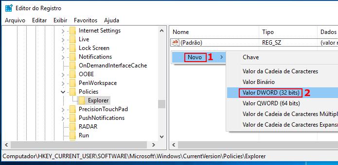Criando um novo valor no registro do Windows dentro de Explorer (Foto: Reprodução/Edivaldo Brito)