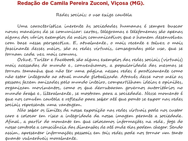 Parte da redação de Camila feita no Enem 2011 e publicada na cartilha do MEC (Foto: Reprodução)