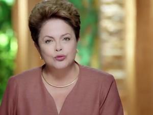 Dilma Rousseff durante horário político desta terça-feira (15) à noite