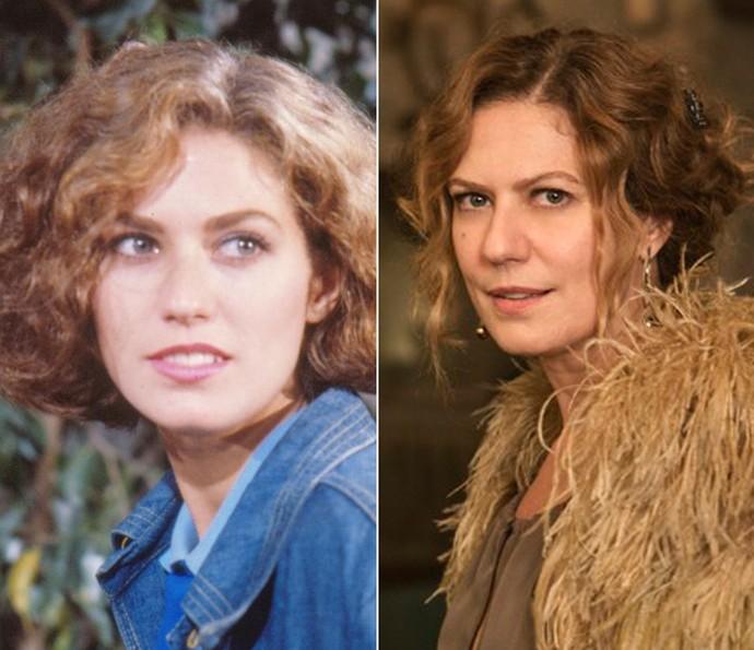 Patrícia Pillar, à esquerda, em sua estreia na TV como a Linda de 'Roque Santeiro', e, à direita, como a manipuladora Isabel de 'Ligações Perigosas' (Foto: CEDOC / TV Globo / Inácio Moraes / Gshow)