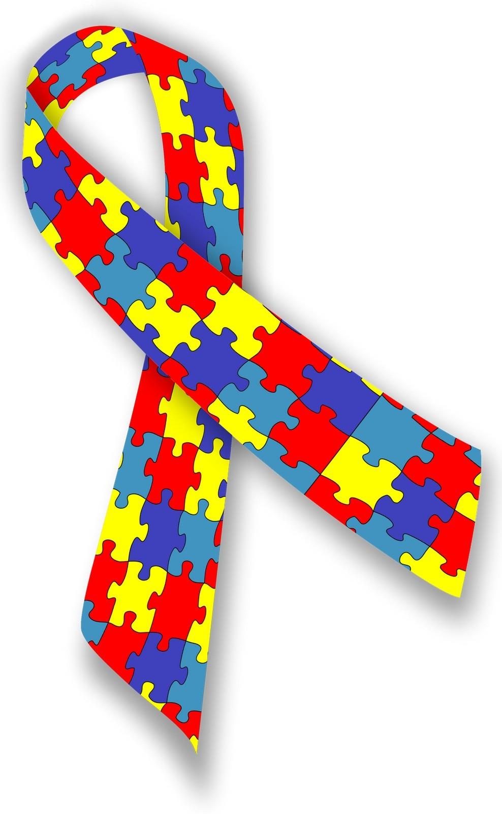 Símbolo do autismo é uma fita formada por peças de quebra-cabeça, representando a complexidade e diversidade de pessoas no espectro  (Foto: Divulgação)