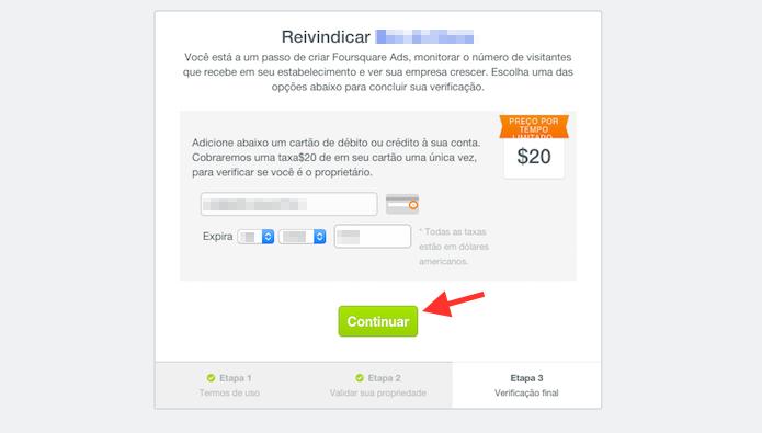 Vinculando um número de cartão de crédito para reivindicar edições em uma página de restaurante ou loja no Foursquare (Foto: Reprodução/Marvin Costa)