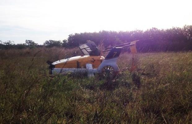 Helicóptero sofreu avarias, mas ocupantes escaparam ilesos (Foto: Divulgação/Graer)