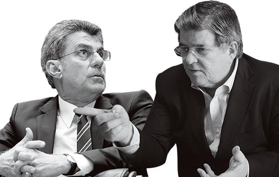 O senador Romero Jucá (PMDB-RR) e o ex-presidente da Transpetro Sérgio Machado (Foto: Alan Marques/Folhapress e Luciana Whitaker/Valor)