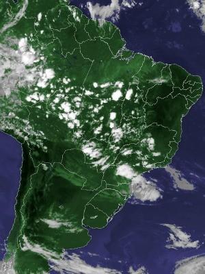 Imagem de satélite capturada na tarde desta quinta-feira (25) (Foto: Reprodução/Cptec/Inpe)