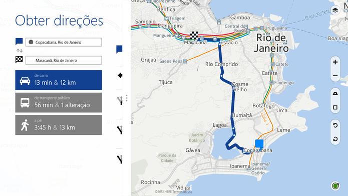 Here Maps, da Nokia, indica transporte público, caminhos e direções para navegação por carro (Foto: Reprofução/Elson de Souza)