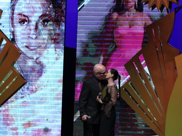 Sônia Braga e Bruno Barreto no Festival de Cinema de Gramado (RS) (Foto: Edison Vara/Pressphoto)