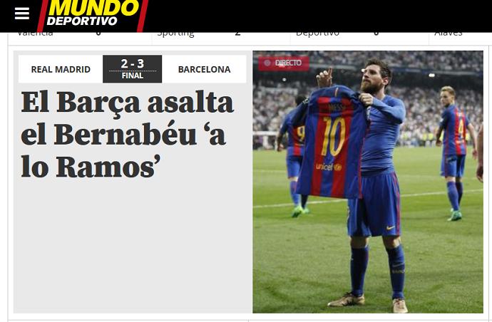 605a3bc1cd Sites da Espanha e Argentina exaltam Messi após vitória no Bernabéu ...