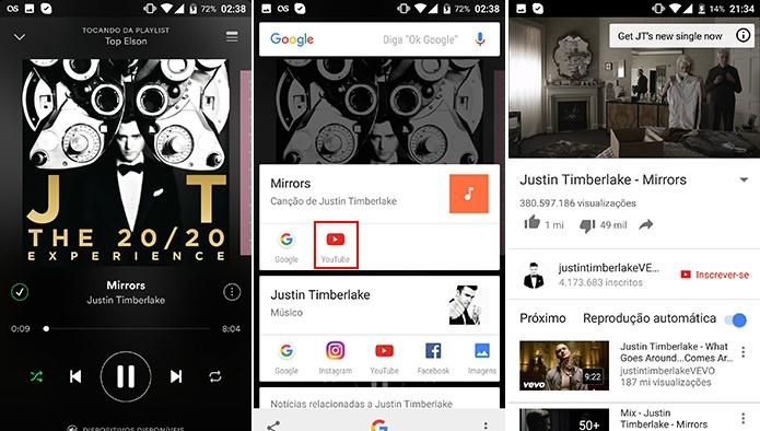 Google Now a um toque permite troca rápida entre Spotify e YouTube (Foto: Reprodução/Elson de Souza)