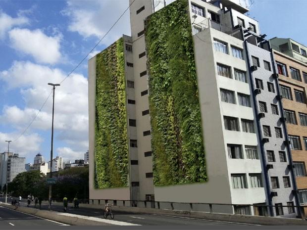 Projeção de como ficará o jardim vertical instalado no  Condomínio Edifício Huds, vizinho ao Elevado Presidente Costa e Silva (Minhocão), na região central de São Paulo (Foto: Movimento 90º/Divulgação)