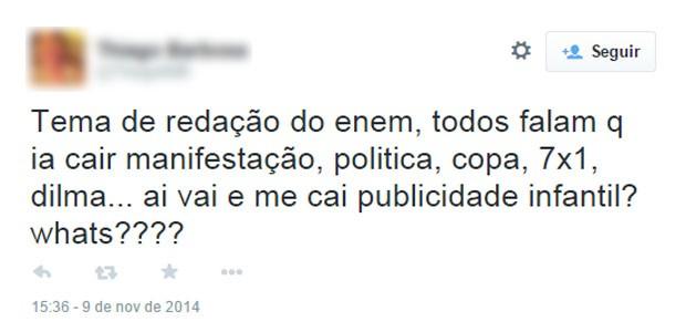 Nas redes, tema da redação do Enem 2014 foi criticado (Foto: Reprodução/Twitter/ThiagoBdB)