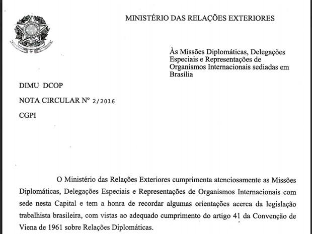Circular encaminhada pelo Itamaraty a embaixadas (Foto: Reprodução)