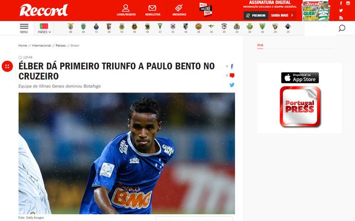 """""""Record"""" repercute vitória celeste contra o Botafogo (Foto: Reprodução/Internet)"""