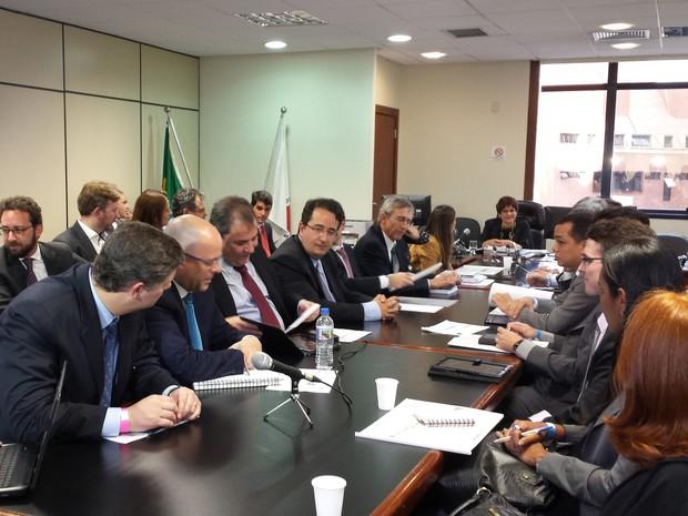 Audiência de conciliação sobre tragédia em Mariana  (Foto: Raquel Freitas/G1)