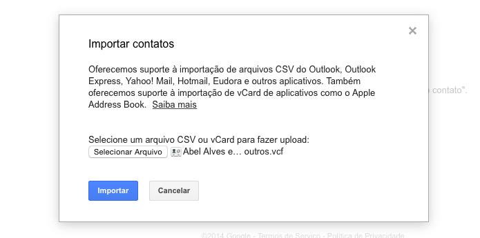 Selecione o arquivo com os contatos (Foto: Reprodução/Helito Bijora)