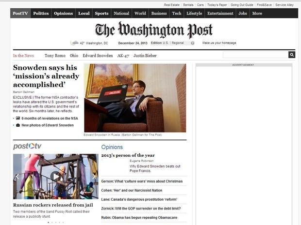 Washington Post publica entrevista com Edward Snowden. (Foto: Reprodução/Site The Washington Post)