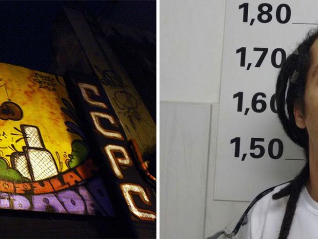 Casa de shows de reggae e suspeito (Foto: Reprodução/Dan Matheus/General Club e Divulgação/Polícia Civil)