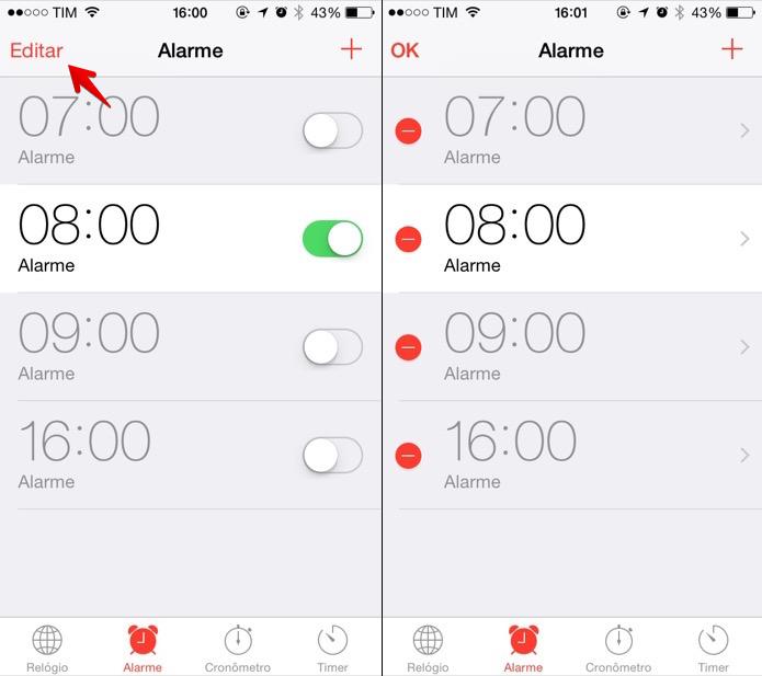Editando alarmes do iPhone (Foto: Reprodução/Helito Bijora)