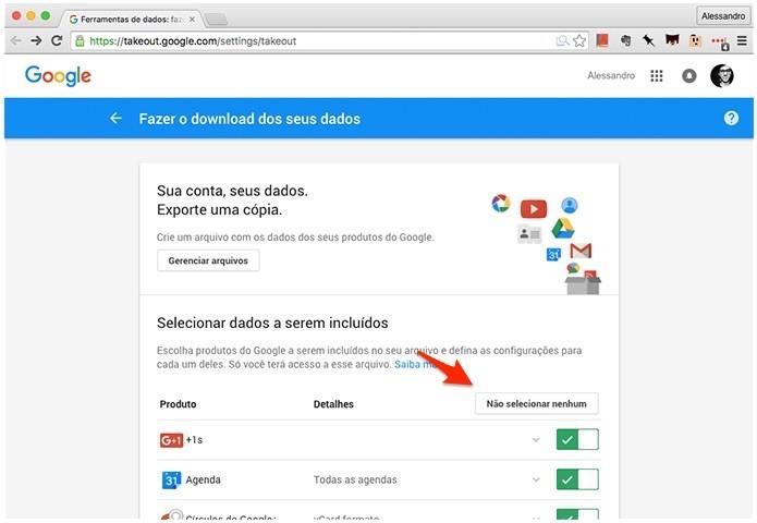 Acessando o Google Takeout para baixar imagens do Google Fotos. (Foto: Reprodução/Alessandro Junior)