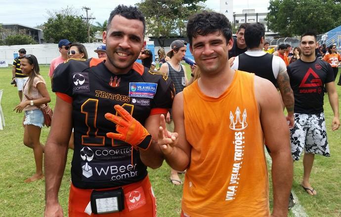 Vicícius e Victor Miranda, irmãos e jogadores do Vila Velha Tritões (Foto: Sidney Magno Novo/GloboEsporte.com)
