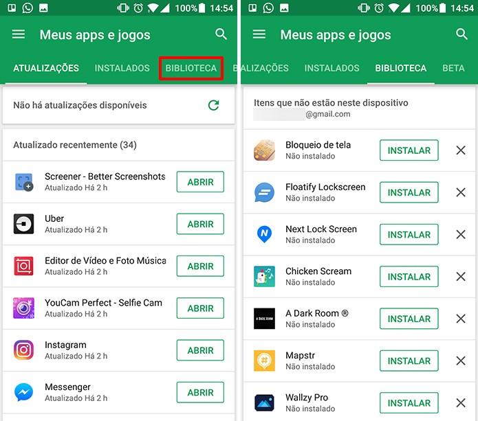 Biblioteca da Play Store mostra todos os apps que foram baixados na conta do Google (Foto: Reprodução/Elson de Souza)