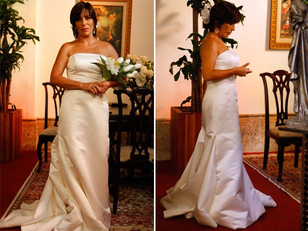 Gloria Pires grava vestida de noiva (Foto: Guerra dos Sexos / TV Globo)