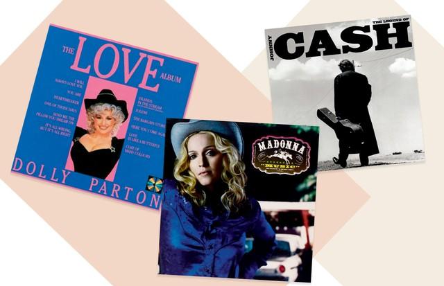 TRILHA SONORA Do álbum Music (2000) de Madonna, que tem influência country pop, aos ícones do gênero Johnny Cash e Dolly Parton, eleja a trilha country para entrar no clima! (Foto: David Sims, Letty Schmiterlow, Archive Photos/Getty Images, Imaxtree, Divulgação e Reprodução)