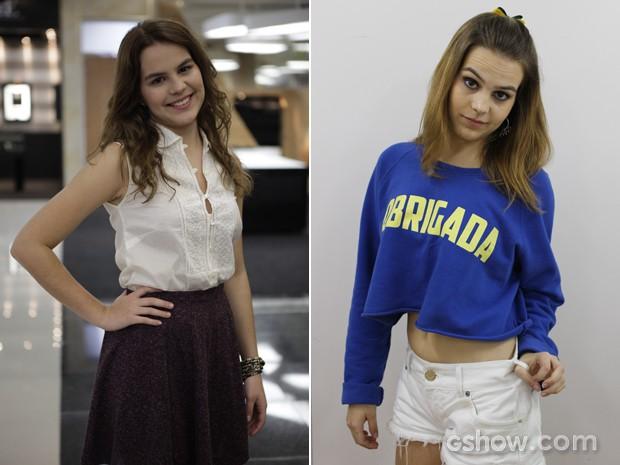 Bianca no primeiro capítulo, e no último. É fácil notar a diferença (Foto: Malhação / TV Globo)