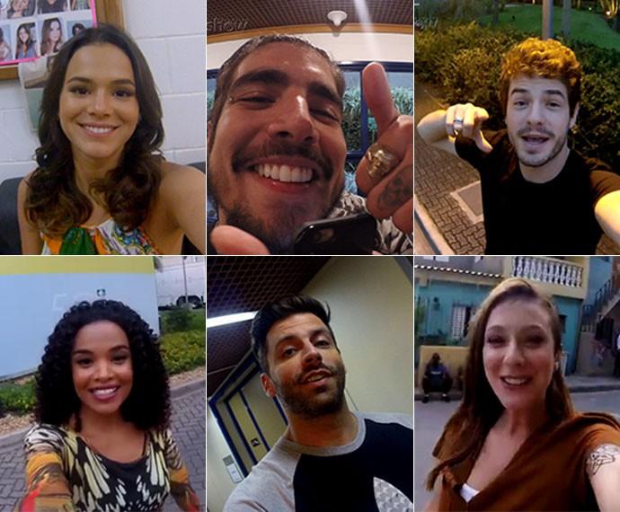 Bruna, Caio, Maurício, Lucy, Caroline e Henry gravaram nos bastidores da novela o que mais 'I Love' (Foto: Gshow)