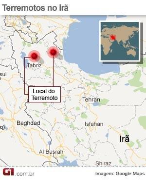 mapa Irã (Foto: Editoria de Arte / G1)