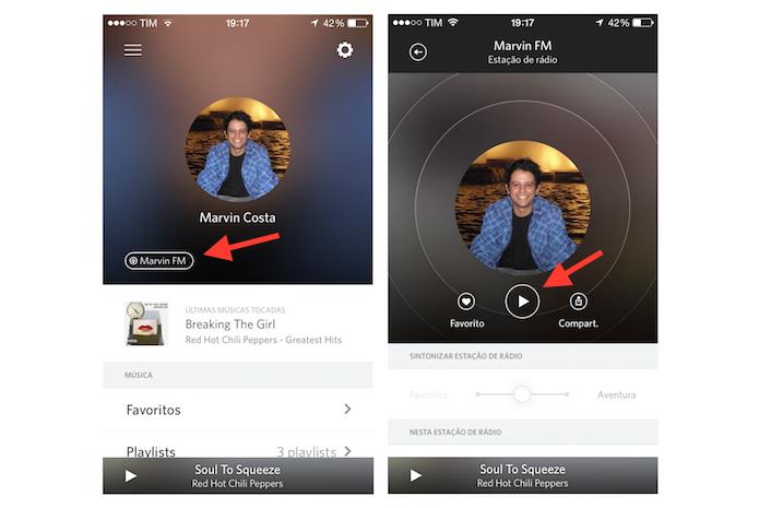 Iniciando uma rádio pessoal no Rdio para iPhone (Foto: Reprodução/Marvin Costa)