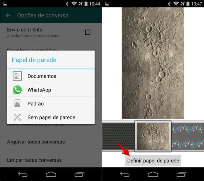 Aplicando papel de parede à tela de chat do WhatsApp (Foto: Reprodução/Helito Bijora)