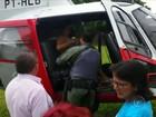 Gestante é resgatada por helicóptero da polícia após ficar ilhada pela chuva