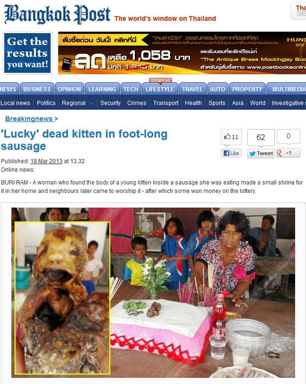 Mulher encontrou o corpo de um gatinho no interior de uma salsicha (Foto: Reprodução)