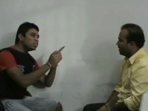 Jhonatan e Júnior Bolinha trocam acusações em acareação (Foto: Reprodução/TV Mirante)