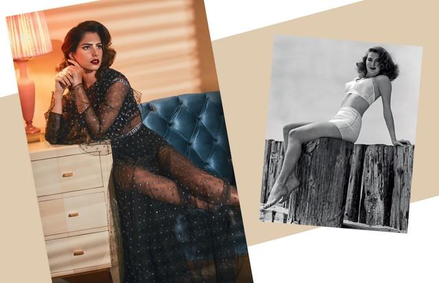 Nicole Pinheiro usa top (R$ 3.700), hot pants (R$ 3.800) e vestido (R$ 66 mil), tudo Dior, e brincos Minha Avó Tinha (R$ 80). Todos os móveis são da Passado Composto (Foto: Ivan Erick, Kurt Hutton e Keystone/Getty Images e MGM/Kobal/Rex/Shutterstock)