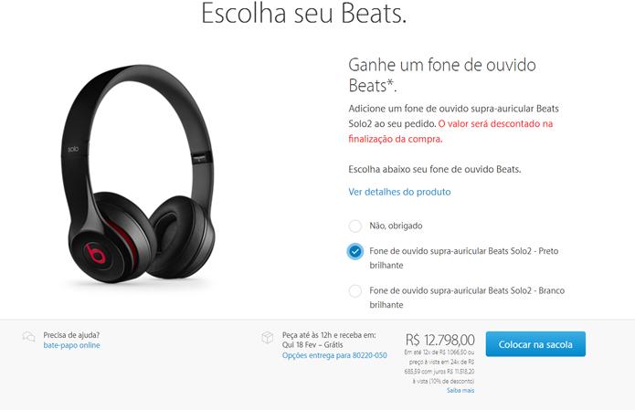 Promoção também dá acesso a frete grátis e brindes, como o fone da Beats na compra de MacBooks Pro (Foto: Reprodução/Filipe Garrett)