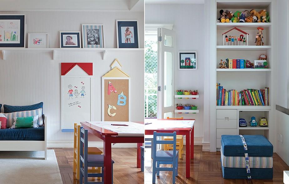 Fã dos desenhos feitos pelos filhos, a mãe Serena Carnevale encomendou a prateleira no alto para exibi-los. Projeto da arquiteta Fernanda Moreira Lima